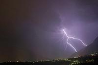 Thunderstorm, lightning, Etsch, valley, South, Tyrol, Italy, Etschtal,