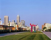 DOWNTOWN SKYLINE AND. WHITE RIVER STATE PARK. INDIANAPOLIS INDIANA. USA