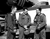 This photo shows test pilots, Left_Right Joseph A. Walker, Stanley P. Butchart and Walter P. Jones, standing in front of the Douglas D_558_II Skystrea...