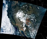 This visible light/infrared composite image over Montana and Idaho was acquired on Aug. 23. The image shows the locations of actively burning wildfire...