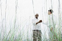 Two men shaking hands outdoors, low angle view through tall grass