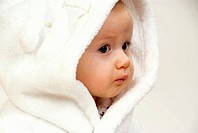 little child in bath robe