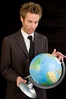 business man with globe
