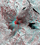 This 3_D anaglyph image of Mt. St. Helens volcano combines the nadir_looking and back_looking band 3 images. To view the image in stereo, you will nee...