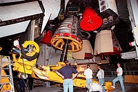 03/22/2000 __ A replacement engine is installed in Space Shuttle Atlantis. Main Engine No. 1 was removed after an inventory review concerning defectiv...