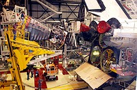 08/16/2002 __ The first Space Shuttle Main Engine SSME is installed on Space Shuttle Atlantis following the welding repair of the propulsion system fl...