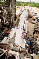 05/22/2000 ___ At Launch Pad 36A, Cape Canaveral Air Force Station, the Atlas IIA rocket is ready to be lifted to vertical in the launch tower. The At...