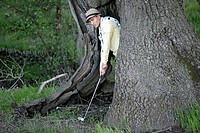 Man playing golf from inside a large tree