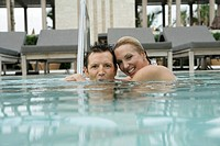 View of a couple underwater in a swimming pool