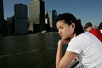 Young woman sightseeing on a ferrboat
