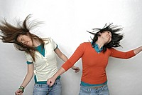 View of two teenage girls going wild