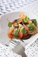 Tomato pasta with eggplant