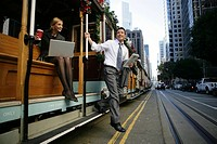 Man exiting a trolley car