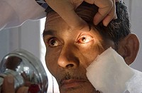 Eye examination after cataract surgery in hospital, Renukoot. Uttar Pradesh, India