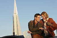 Mature couple with Transamerica Pyramid in the background (thumbnail)