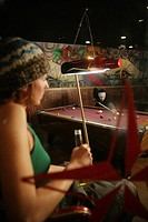 Couple in a pool hall