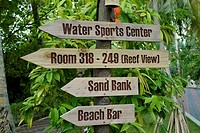 Sign for Rooms and Water Bangalows, maldives