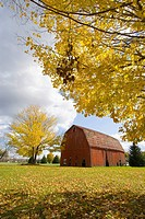 Autumn fall color pastoral farm scene near Springfield Illinois