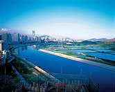 the scene of Chinese city along the river