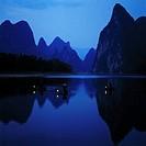 Mountain and Yu Long River at dusk, Yangshuo, Guangxi