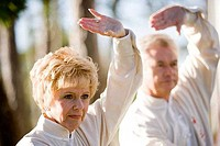 Mature couple performing martial arts in the park