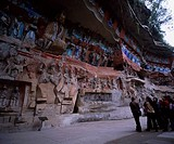 Statue_of_Buddha, group, Light_blue, Red, stone cave, Southern Song, Dazu, Sichuan, China