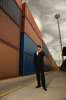 Businessman standing at a commercial dock and talking on a mobile phone