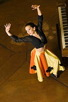 High angle view of a woman performing flamenco dance