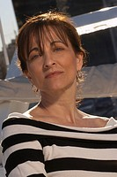 Portrait of mature woman on boat