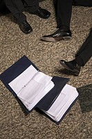 Detail of businessmen's legs with folders on floor