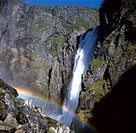 Norway, scenic view of waterfall with rainbow