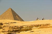 Tourism policemen on dromedaries close to the Khephren pyramid
