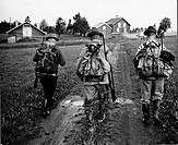 Rear view of soldiers walking with riffles