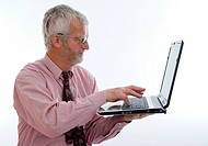 retiree with laptop