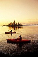 Kayaking on Dorothy Lake, Whiteshell Provincial Park, Manitoba, Canada.