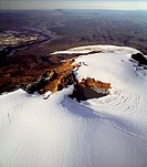 Iceland _ Aerial view of mountains and snow