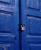 Close_up of a locked door, Mykonos, Greece