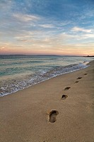Footprints in a beach in Ibiza