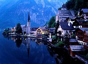 High angle view of buildings at the waterfront, Hallstatt, Austria