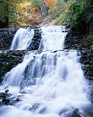 Autumn Rokumei Waterfall Tsubetsu Hokkaido Japan Spray Red leaves Water Stream