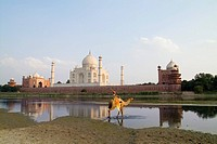 The Taj Mahal seen from the Yamuna River, Agra, India.