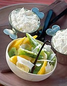 Orange blossom mousse and exotic fruit salad