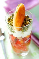 Peach, pear, pistachio and whipped cream dessert (thumbnail)