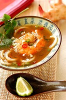 prawn soup with galanga and cafre lime juice