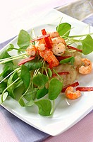 jerusalem artichoke puree, pan_fried prawns and strips of chorizo