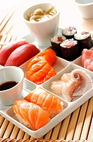 sushi, maki and sashimi tray