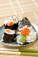 Maki and a salmon and avacado cone (thumbnail)