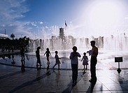Center Square, fountain, People, Zhangye, Gansu, China, Asia