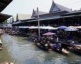 DuamnuenSaduak Floating market Near Bangkok Thailand April