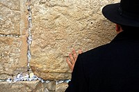 Orthodox Jew praying by the Wailing Wall ´Western Wall´ , Jerusalem. Israel